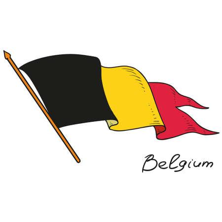 벨기에의 국기입니다. 국기 벨기에. 흰색 배경에 고립 된 개체입니다. 손을 그리기. 벡터 낙서.