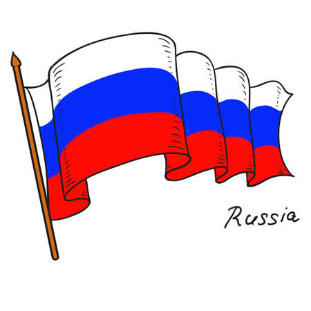 Vector flag Russia. The national flag of Russia. Isolated object on white background. Hand drawing. Vector Doodle.