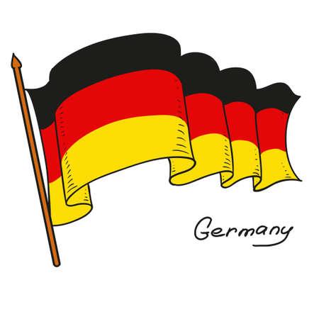 벡터 플래그 독일입니다. 독일의 국기. 흰색 배경에 고립 된 개체입니다. 손을 그리기. 벡터 낙서 그림입니다.