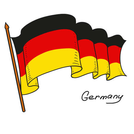 Vector flag Germany. The national flag of Germany. Isolated object on white background. Hand drawing. Vector doodle illustration.