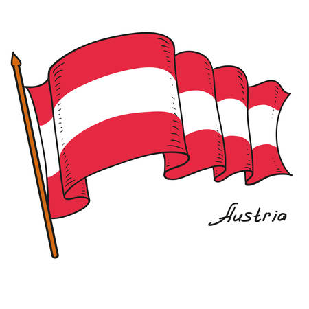 Vector flag of Austria. National flag of Austria. Isolated object on white background. Hand drawing. Vector doodle illustration. Ilustração