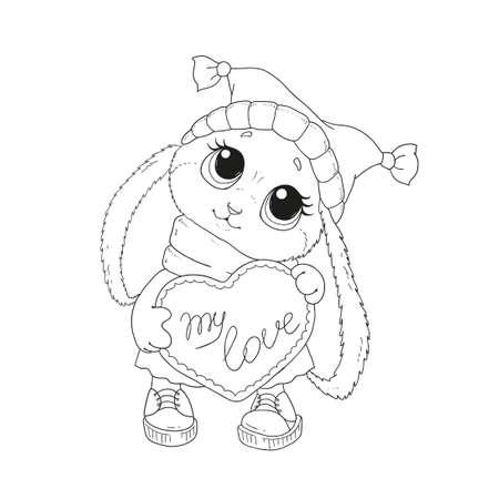 사랑스러운 토끼 모자입니다. 축하합니다. 발렌타인 데이. 토끼와 심장입니다. 토끼 벡터 절연, 손을 그리기입니다. 색칠 놀이 책.