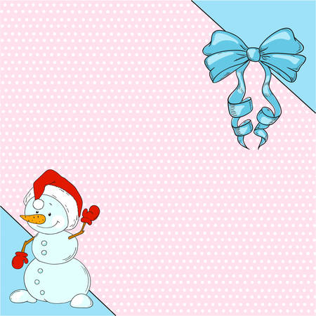 Cute character cartoon snowman. Greeting card with place for congratulations. Vector.