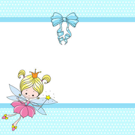 Lovely character cartoon fairy. Fairy girl with a bow on a blue background. Greeting card with place for congratulations. Vector. Vettoriali