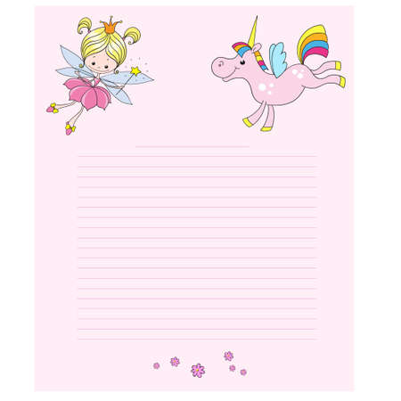 Fairy and unicorn cartoon characters. Cute characters on a pink background. Greeting card with place for congratulations. Vector.