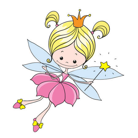 Little fairy. Sweet lady fairy tale. Vector character on a white background. Hand drawing.
