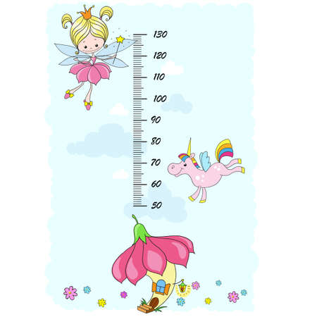 Stadiometer for children. Fairy tale characters. Fairy, unicorn, clouds on a blue background. Vector cartoon illustration.