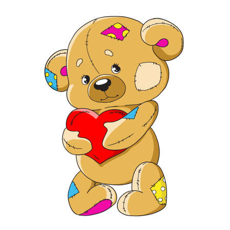 Cartoon teddy bear. Funny toy bear. A teddy bear with a heart. Cute character for decoration. Vector isolated on white background. Ilustração