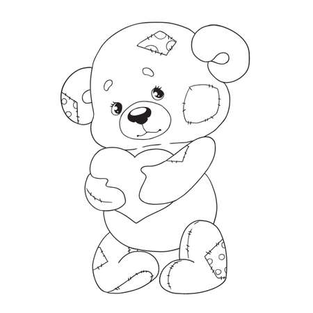 Cute cartoon character teddy. Bear with heart. Coloring book. Vector isolated on white background.