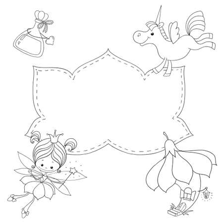 Coloring book with space for text. Fairy, unicorn, fairy-tale house. Black outline on white background. Fairy tale characters.