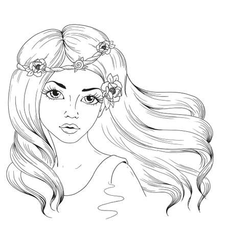 Beautiful girl with long hair. Woman with flowers in hairstyle. Vector character hand drawing on white background. Contour for coloring books.