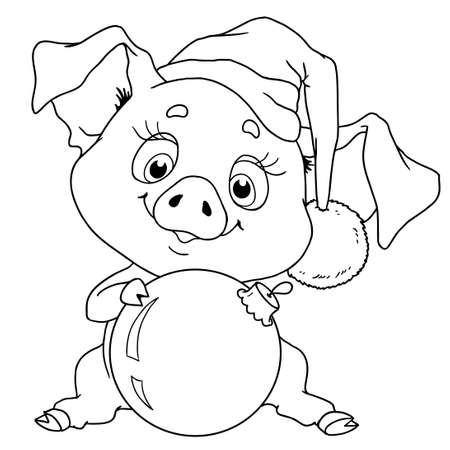 Cheerful character of a pig. Chinese horoscope. Vector illustration isolated. Coloring book.