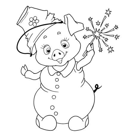 Cheerful character pig pigeon snowman. Chinese horoscope. Vector illustration isolated. Zodiac. Coloring book. Ilustração
