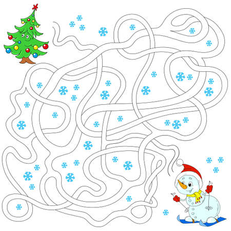 Labyrinth for children. Educational games. Find the path. Vector illustration.