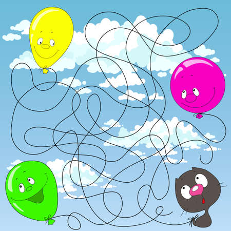 Help the kitten find his balloon. Labyrinth for children. Educational games Find the path. Vector illustration. Ilustração