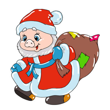 Sweet piglet in Santas costume. Pig cartoon character for postcard. Congratulations on Christmas. Chinese New Year.