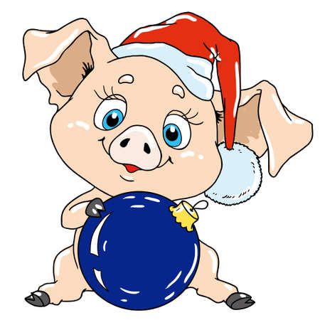 Cute pig with a Christmas tree toy. Pig cartoon character for postcard. Congratulations on Christmas. Chinese New Year.
