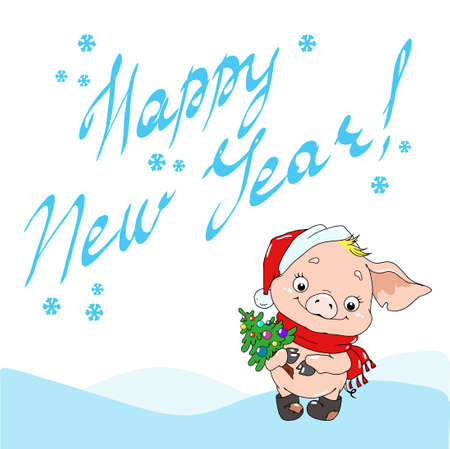 Greeting card Happy New Year. Cute cartoon character piggy. Vector illustration. Ilustração