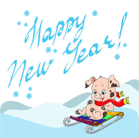 Greeting card with a cute pig. New Years greetings. Chinese New Year. Cheerful character piggy on the sled. Vector illustration. Ilustração
