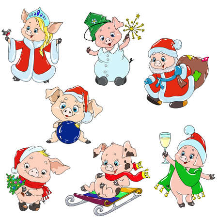 A set of cute characters for the new year. Christmas characters. Piggy cartoon for greeting card. Vector elements for design. Ilustração