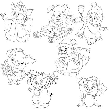 A set of cute characters for the new year. Christmas characters. Piggy cartoon for coloring the book. Vector elements for design. Ilustração