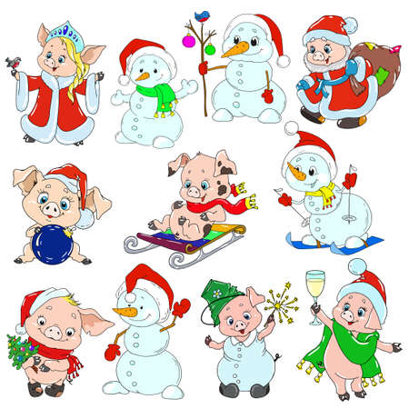 A set of cute characters for the new year. Christmas characters. Piglets and snowmen for greeting cards. Vector elements for design. Ilustração