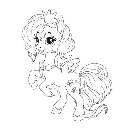 Cute cartoon character for coloring book. Pony unicorn doodle. Element for childrens creativity. Fabulous vector unicorn on a white background.