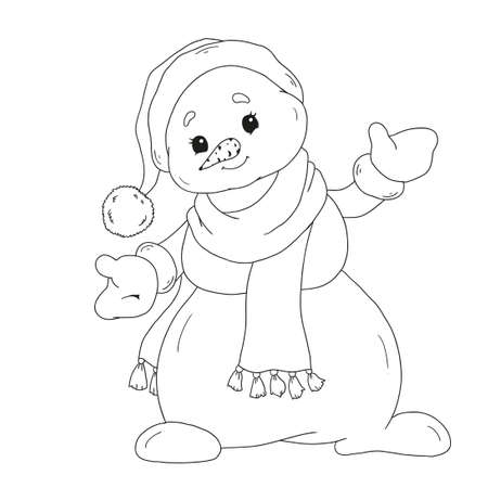 Snowman coloring book. Cute cartoon character snowman for children's creativity. Snowman in a scarf. Vector isolated on white background.