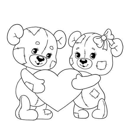 Cute bear cubs with a heart. Teddy bears for Valentines day. Vector illustration. Line for coloring book.