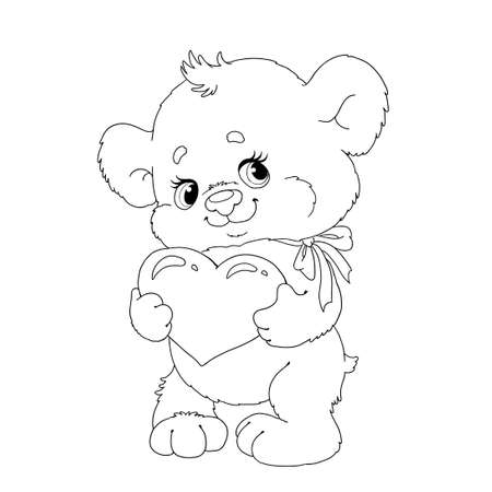 Cute cartoon character bear. Bear with a heart. Page for coloring book. Vector bear for congratulations. Valentine's Day. 向量圖像