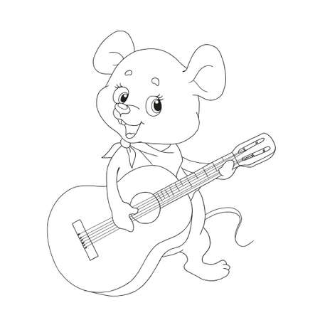 Cute cartoon character little mouse. Cheerful musician. Little mouse guitarist. Vector illustration on white background. Contour for coloring-books. Page for childrens creativity.