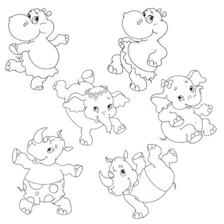 A collection of funny cartoon characters. Hippo, elephant, rhinoceros dance. Dancing animals. Pictures for coloring books. For childrens creativity. Vector isolated on white background.
