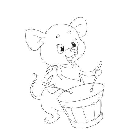 Little mouse musician. Funny cartoon character mouse drummer. Mouse plays the drum. Vector for coloring book.