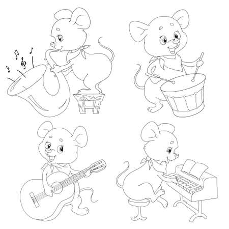 Seth funny mouse musicians. Cute cartoon characters of the little mouse. Trumpeter, pianist, drummer, guitarist. Musical ensemble. Vector isolated on white background. A collection of characters for c  イラスト・ベクター素材
