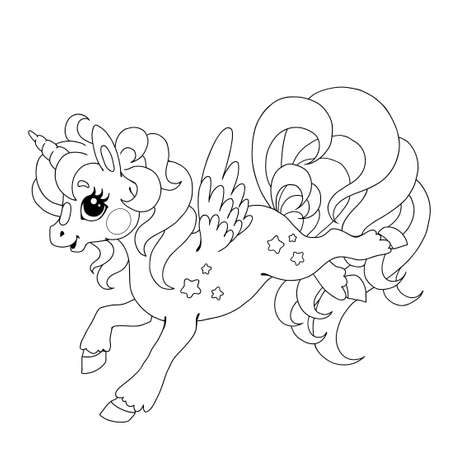 Character cartoon unicorn. Vector drawing doodle. Fabulous creature unicorn. Unusual horse. Vector isolated on white background. Drawing for coloring book.