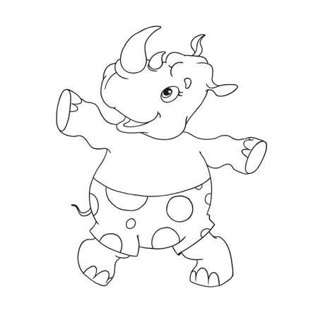 Cheerful character rhino. Rhino dancing. Cartoon character for coloring book. Character for childrens creativity. Vector isolated.
