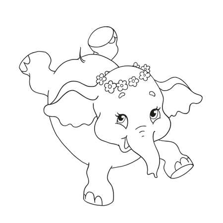 Funny little elephant character. Dancing elephant Vector cartoon character for coloring book. Vector isolated on white background. Page for coloring book. Hand drawing. Ilustração