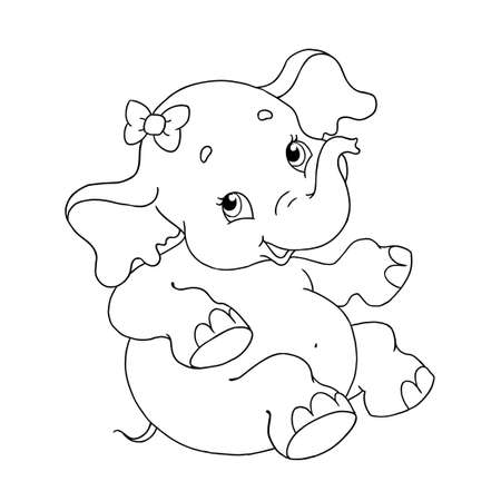 Funny little elephant character. Cute elephant with a bow. Vector cartoon character for coloring book. Vector isolated on white background. Page for coloring book. Hand drawing.