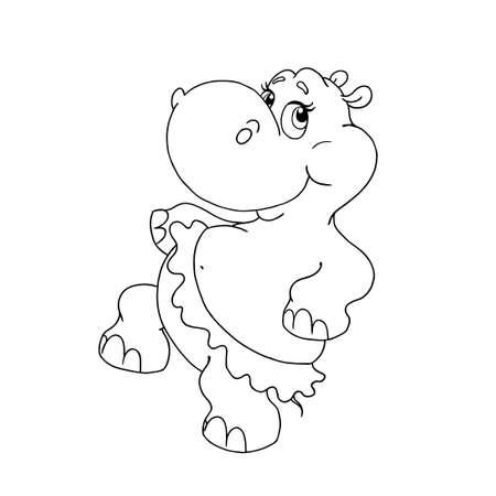 Joyeux hippopotame dansant. Personnage de dessin animé de vecteur Hippo. Hippopotame en jupe. Page pour livre de coloriage. Hippo à colorier. Objet pour la créativité des enfants. Vecteur isolé.