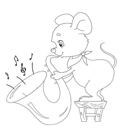 Little cartoon character mouse. Cheerful musician. The mouse plays the trumpet. Vector illustration on white background. Contour for coloring-books. Page for childrens creativity.