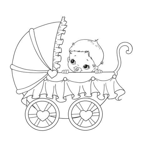 Cute newborn in a stroller. Baby in a stroller vector. Illustration on white background. Baby carriage for coloring book.