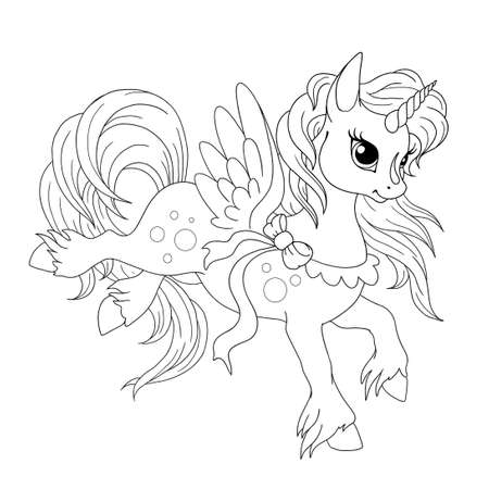 Character cartoon unicorn. Vector drawing doodle. Fabulous creature unicorn. Vector isolated on white background. Drawing for coloring book. Ilustração