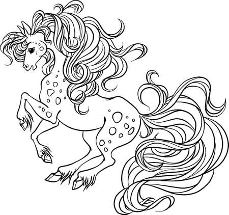 Beautiful horse fabulous. Horse maned vector. Coloring book page. Coloring book for children's creativity. Character cartoon horse with a long mane. Long hair coloring.