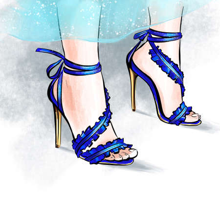 Fashionable sandals in blue. Fashionable illustration for decoration. Beautiful female legs in shoes.