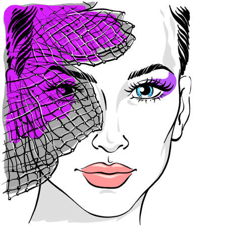 Portrait of a beautiful woman with a veil. Veil on the face. Beautiful girl with a veil. Vector illustration isolated on white background. Textile print, poster, fashion illustration.