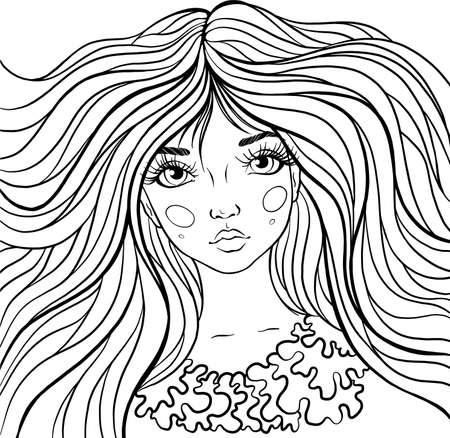 Cartoon character girl with long hair. Page for coloring book. Vector isolated girl with beautiful hair. Element for creativity. Painting for coloring.