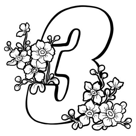 Decorative number 3 for coloring. Coloring book page, element of creativity. Figure with flowers. Vector digit isolated on a white background.