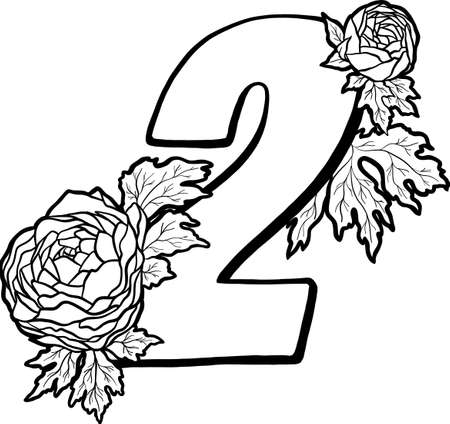 Decorative number 2 for coloring. Coloring book page, element of creativity. The figure with peony flowers. Vector digit isolated on white background.