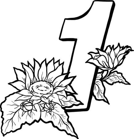 Decorative number 1 for coloring. Coloring book page, element of creativity. Figure with a sunflower. Vector digit isolated on white background. 向量圖像