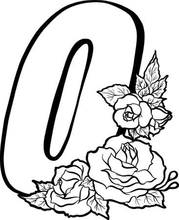 Decorative number 0 for coloring. Coloring book page, element of creativity. The figure with roses. Vector digit isolated on white background.